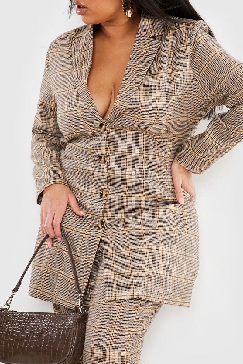 CURVE FASHION INFLUX BROWN HERITAGE CHECK SINGLE BREASTED LONGLINE BLAZER