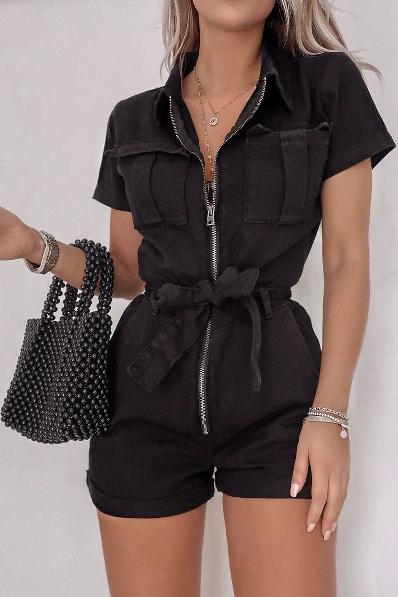 FASHION INFLUX BLACK DENIM SHORT SLEEVED OVERSIZED PLAYSUIT