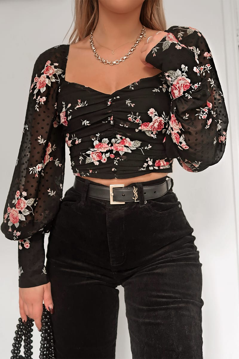 FASHION INFLUX BLACK FLORAL PRINT BALLOON SLEEVED CROP TOP