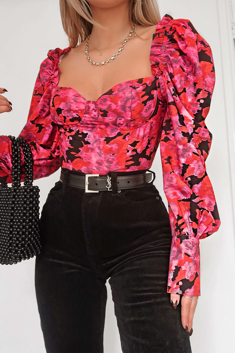 FASHION INFLUX PINK FLORAL PRINT FRILL DETAIL PUFF SLEEVED CORSET TOP