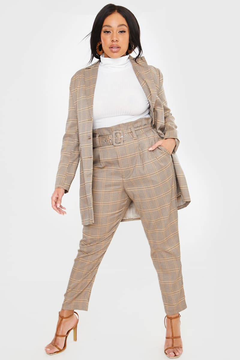 CURVE FASHION INFLUX BROWN HERITAGE CHECK TROUSERS