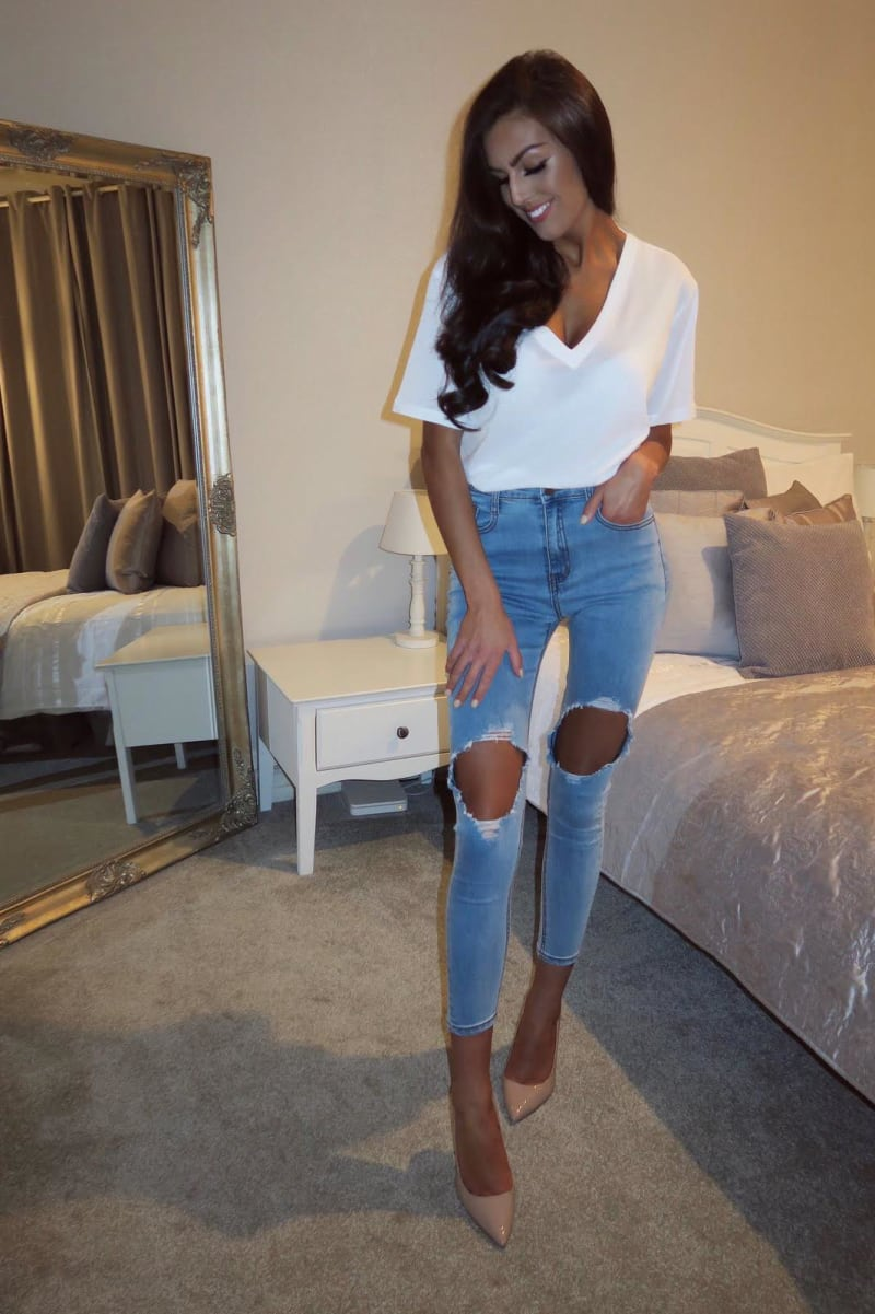 blue open rip knee high waisted skinny jeans