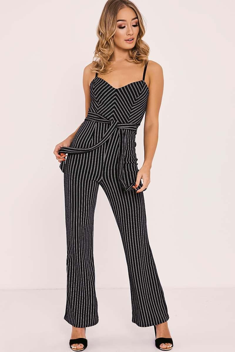 black striped tie waist jumpsuit