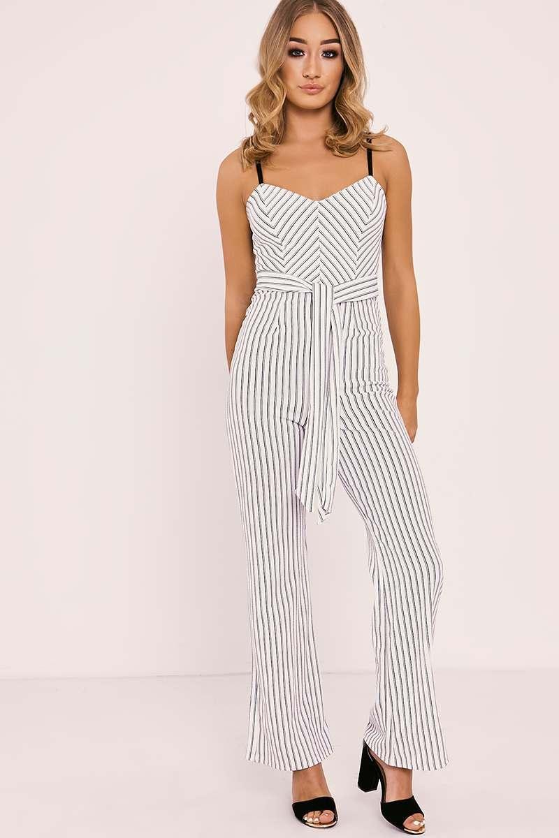 white striped tie waist jumpsuit