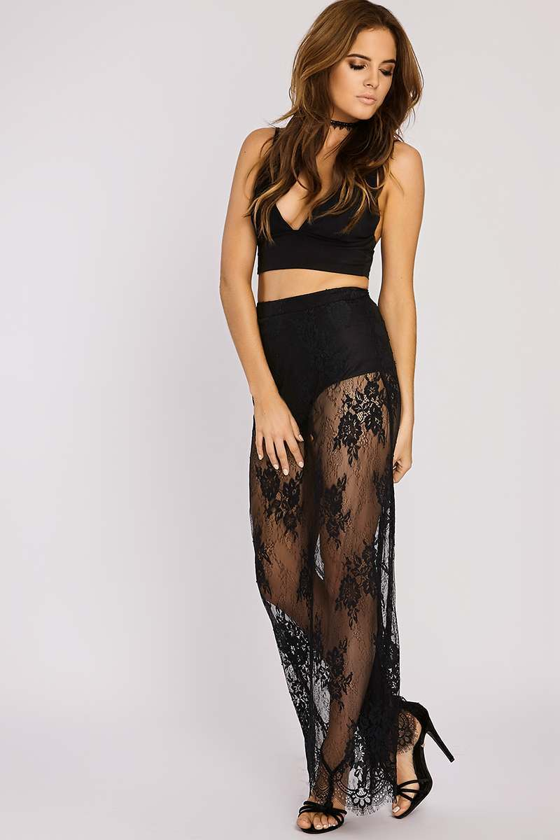 BINKY BLACK LACE EYELASH HEM MAXI SKIRT