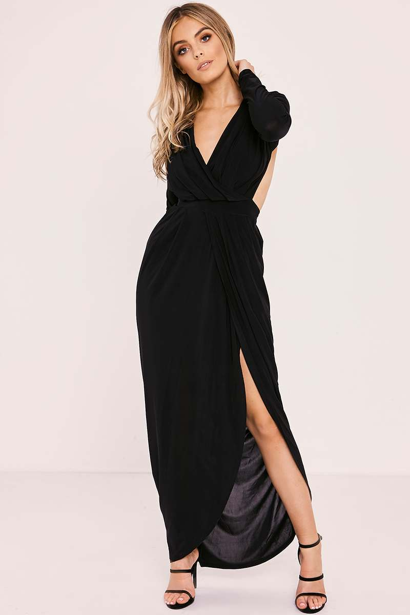 black slinky open back ruched maxi dress