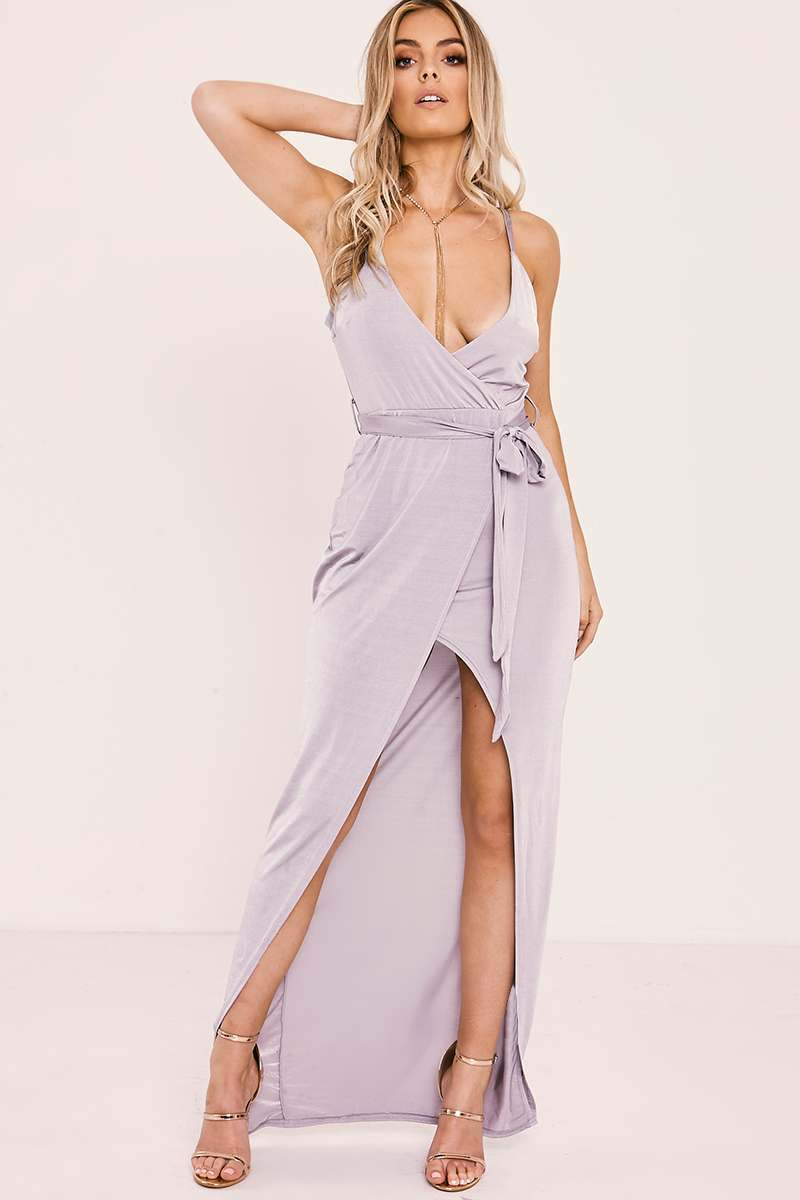 grey slinky wrap tie front maxi dress