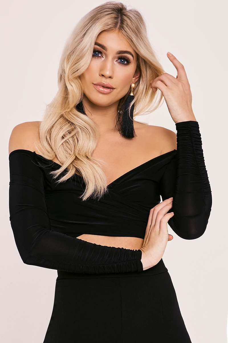 NOVA BLACK SLINKY BARDOT WRAP TOP