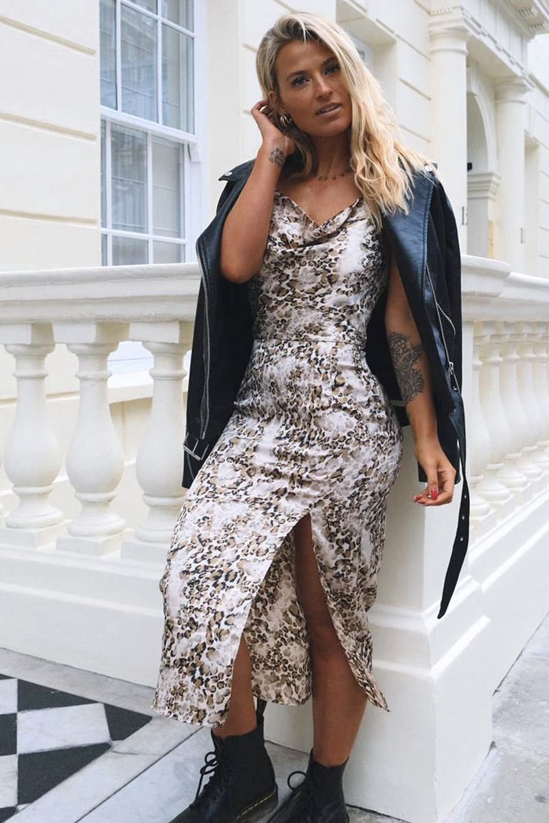 MEGGAN GRUBB SATIN STONE LEOPARD PRINT COWL NECK MIDI DRESS