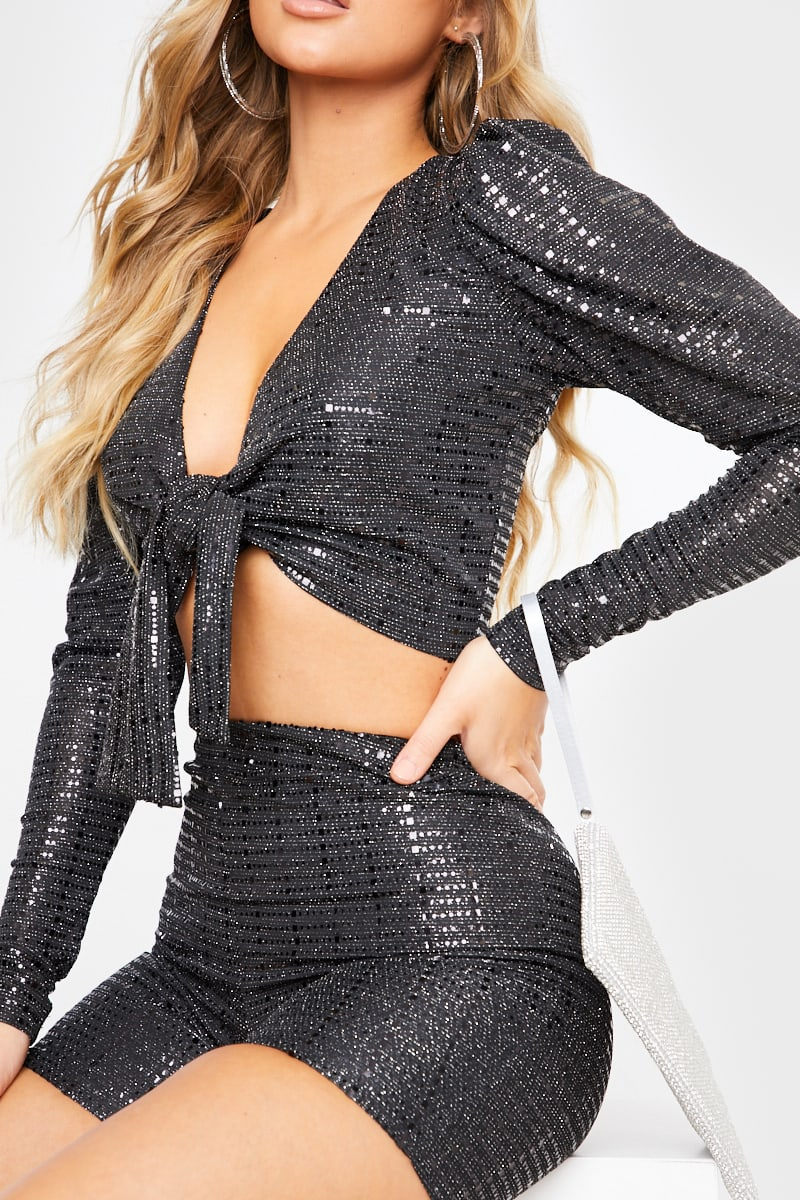 MEG KYLIE BLACK EMBELLISHED TIE FRONT PUFF SLEEVE CO-ORD TOP