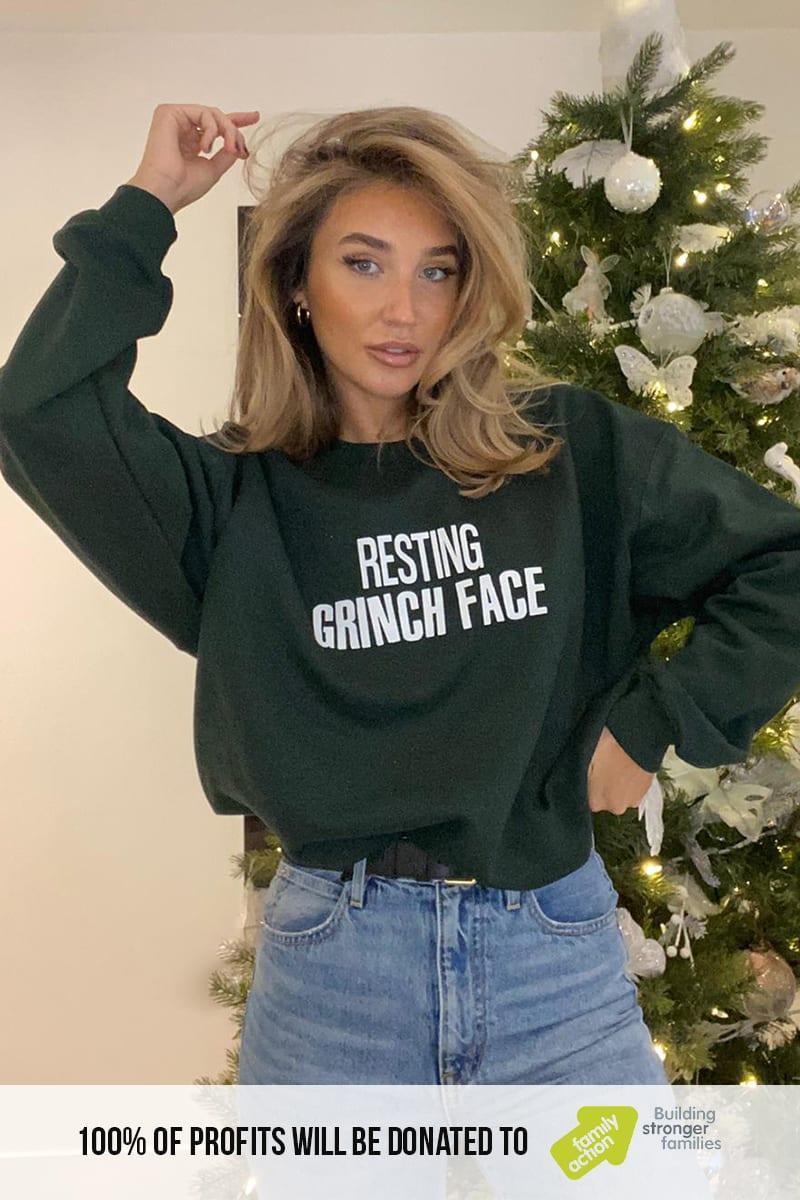 "MEGAN MCKENNA GREEN ""RESTING GRINCH FACE"" CHRISTMAS SWEATSHIRT"