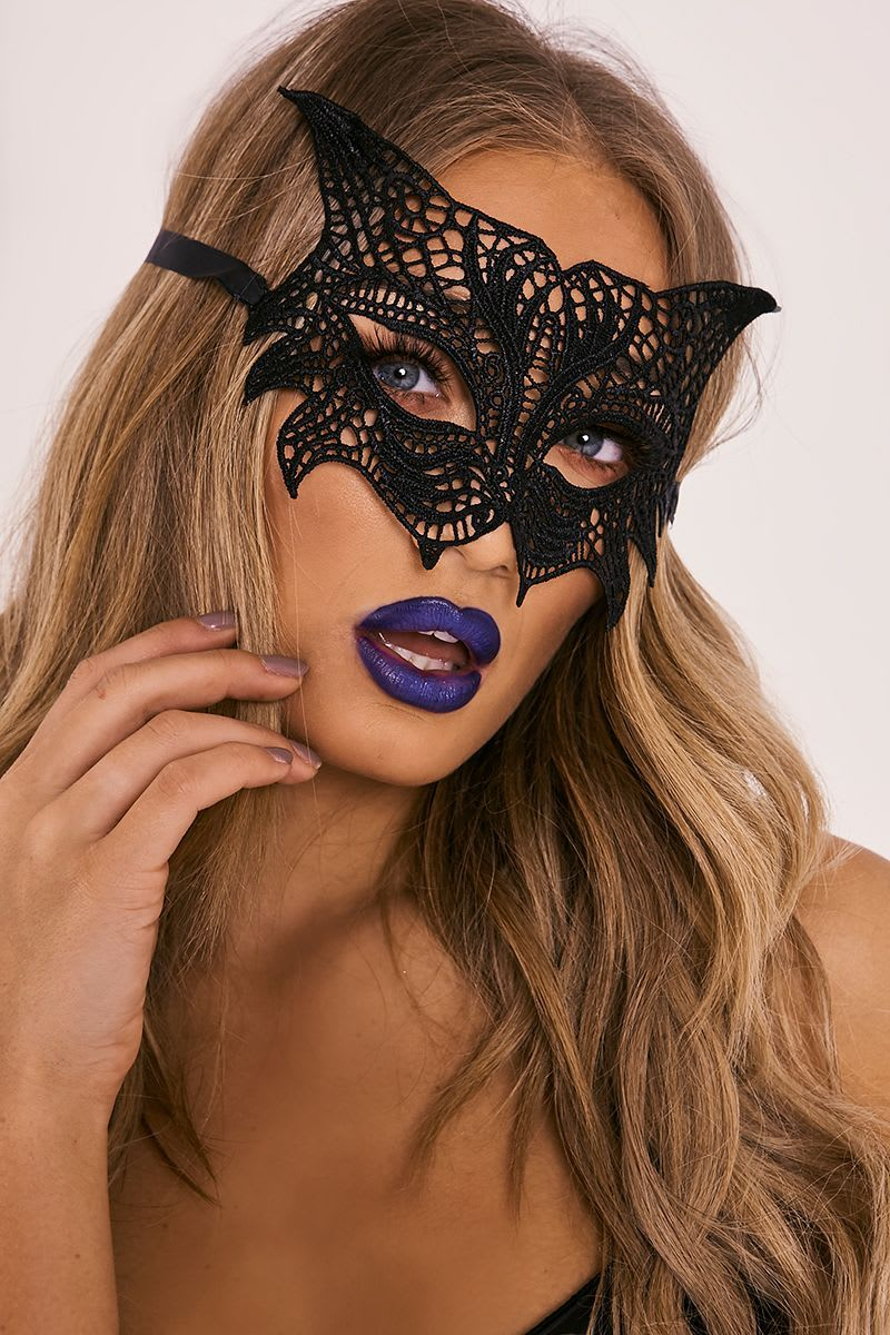 BLACK LACE CAT EYE MASK