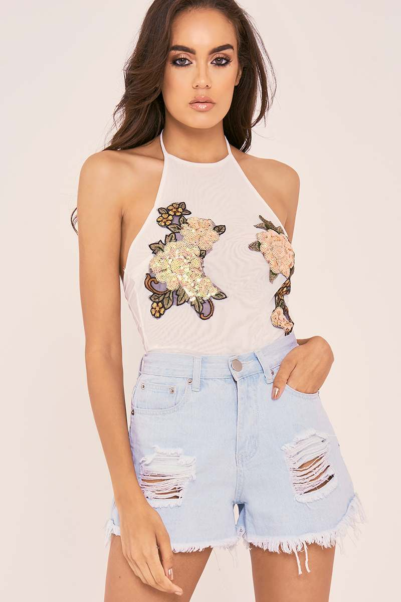 white floral sequin mesh bodysuit