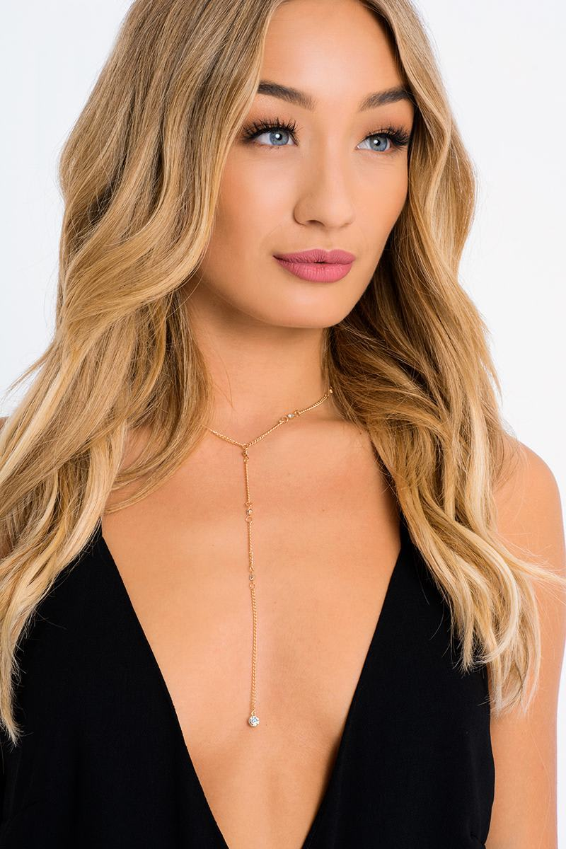 GOLD DIAMANTE PLUNGE DROP NECKLACE