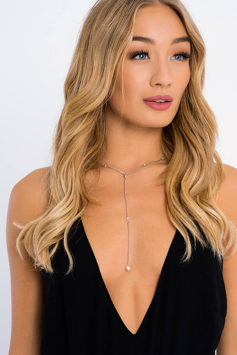 SILVER DIAMANTE PLUNGE DROP NECKLACE