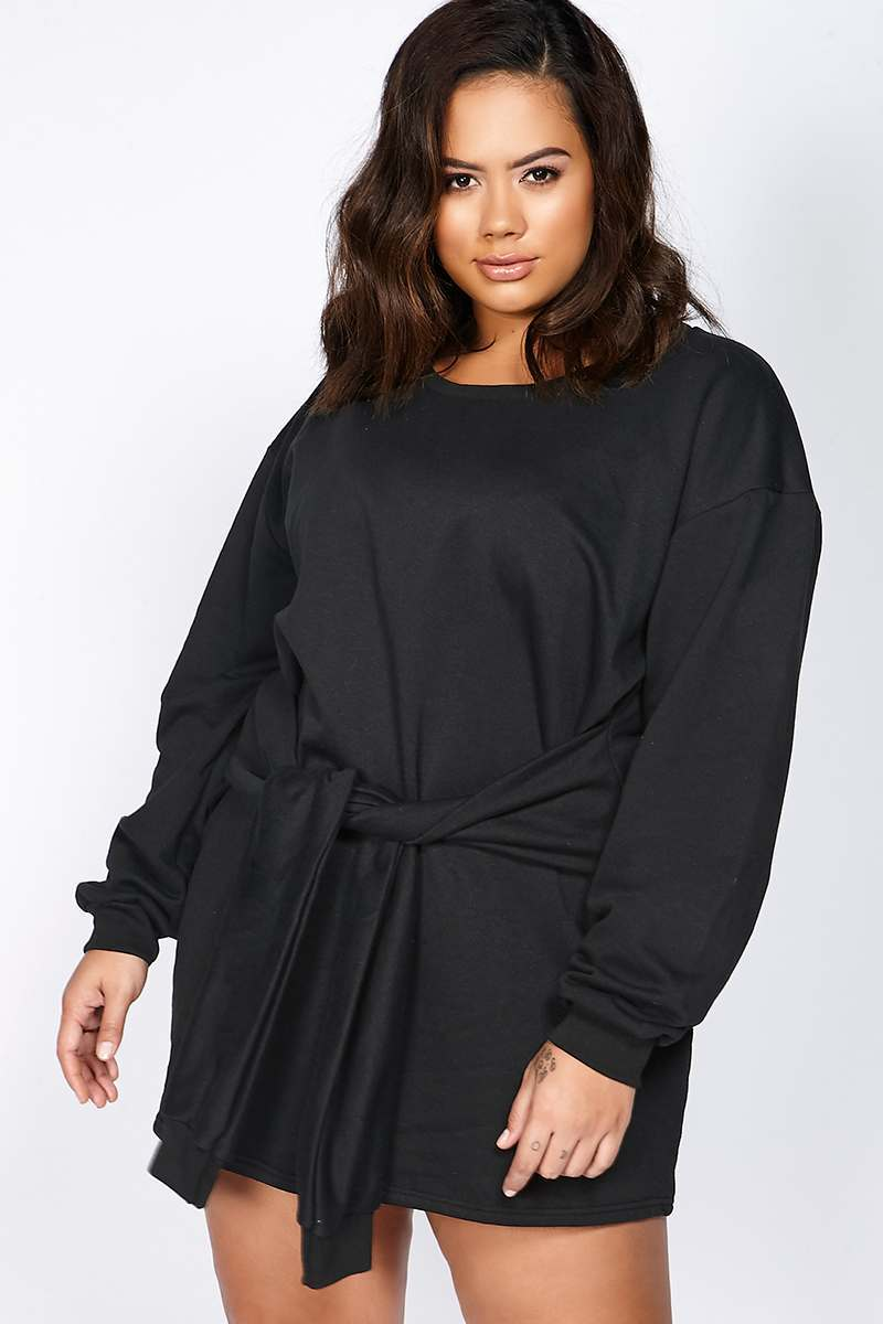 Curve Binky Black Tie Front Sweater Dress