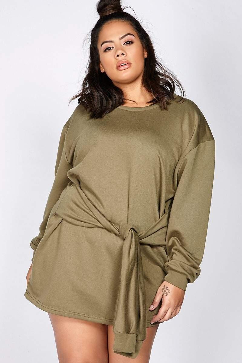 Curve Binky Khaki Tie Front Sweater Dress