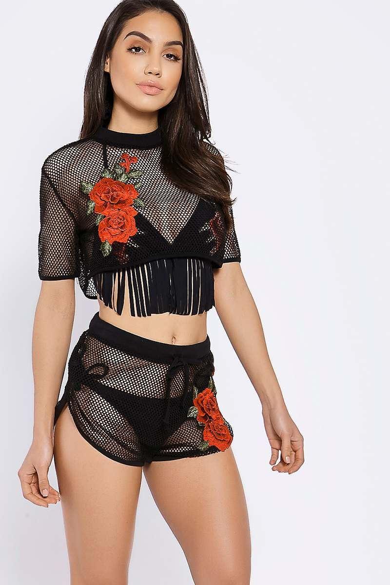 BINKY BLACK MESH APPLIQUE SHORTS