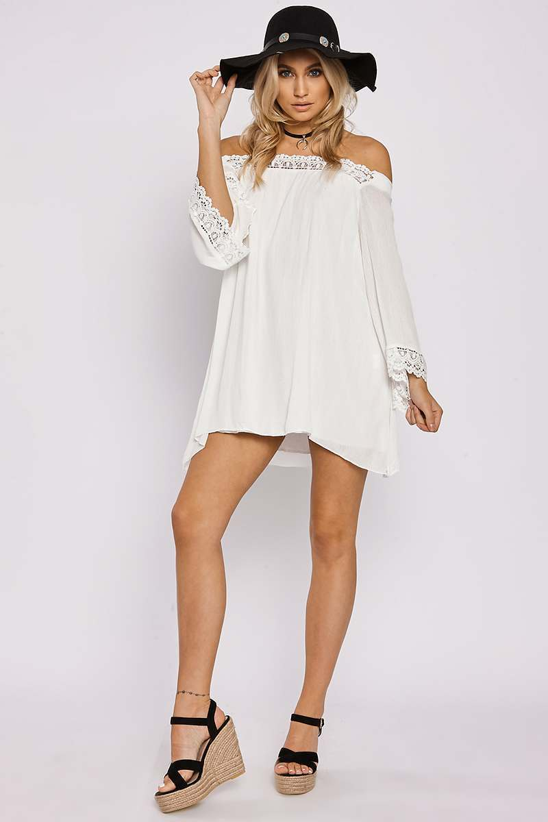 white crochet flared sleeve bardot dress