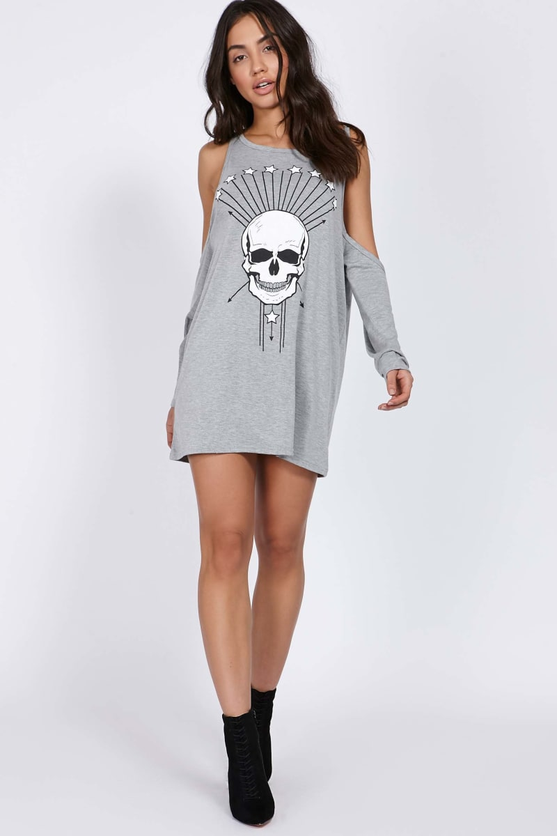 CHARLOTTE CROSBY GREY SKULLS COLD SHOULDER T SHIRT DRESS
