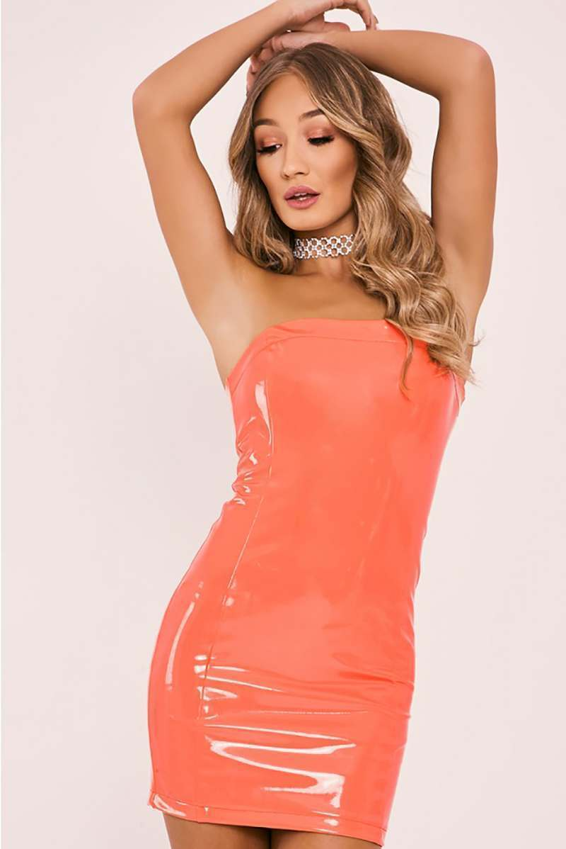 CHARLOTTE CROSBY CORAL VINYL BANDEAU MINI DRESS
