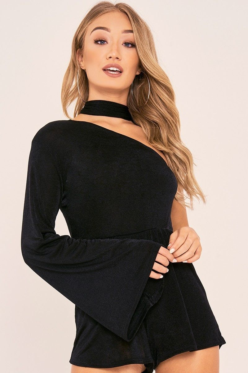 CHARLOTTE CROSBY BLACK ONE SHOULDER FLARED SLEEVE PLAYSUIT