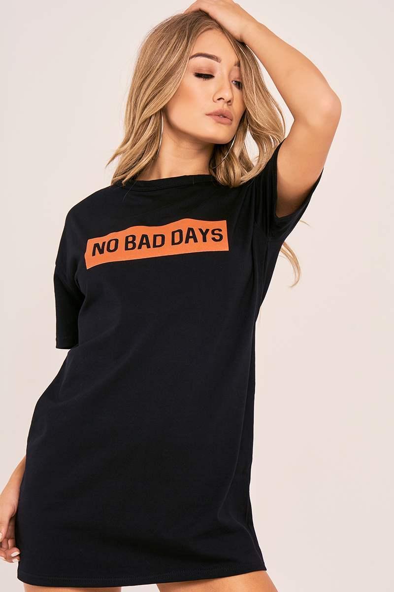 CHARLOTTE CROSBY BLACK NO BAD DAYS SLOGAN T SHIRT DRESS