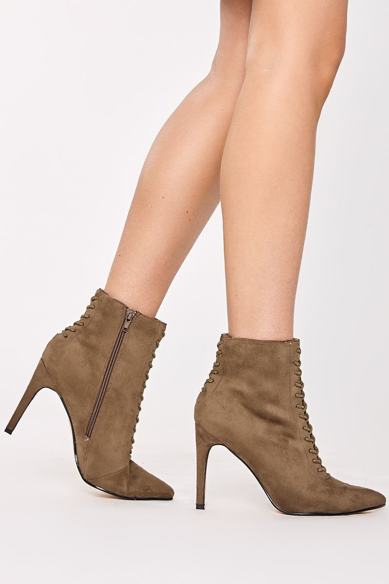 khaki faux suede lace up heeled ankle boots