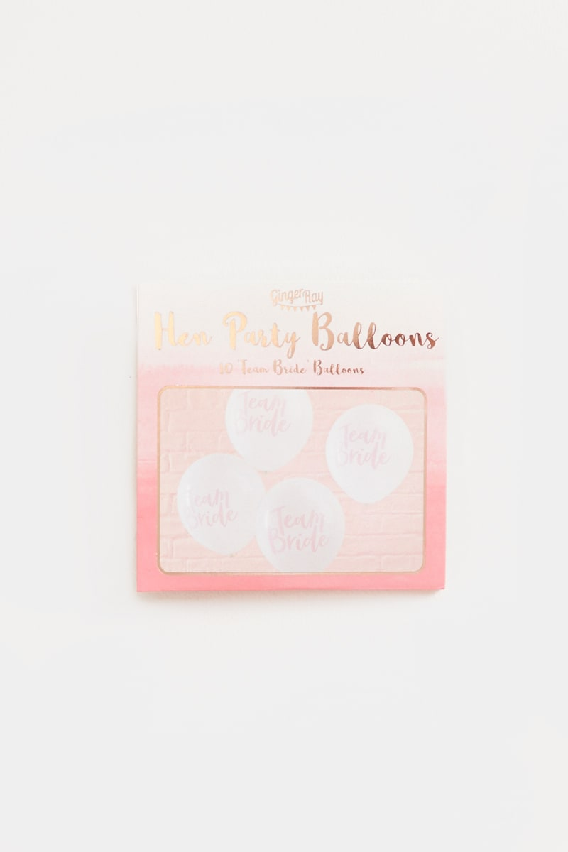 GINGER RAY TEAM BRIDE WHITE BALLOONS