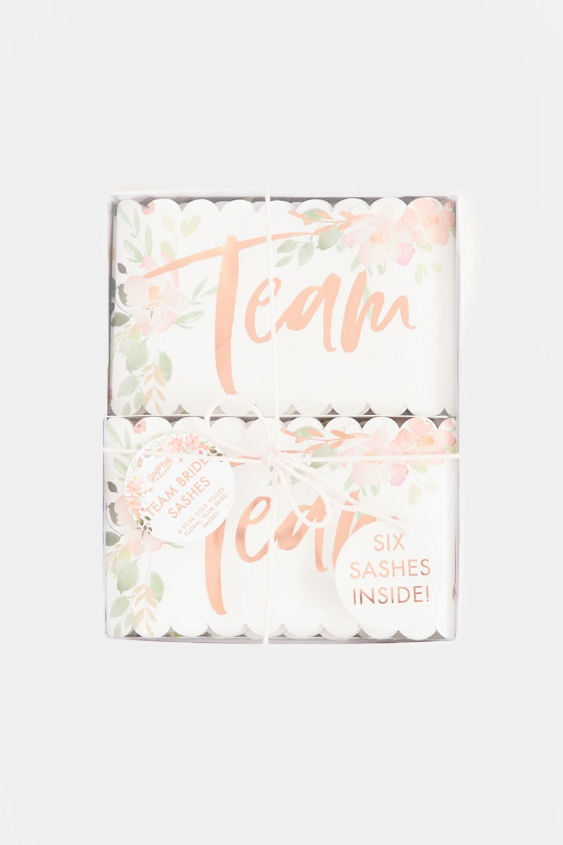 GINGER RAY TEAM BRIDE FLORAL SASHES 6 PACK