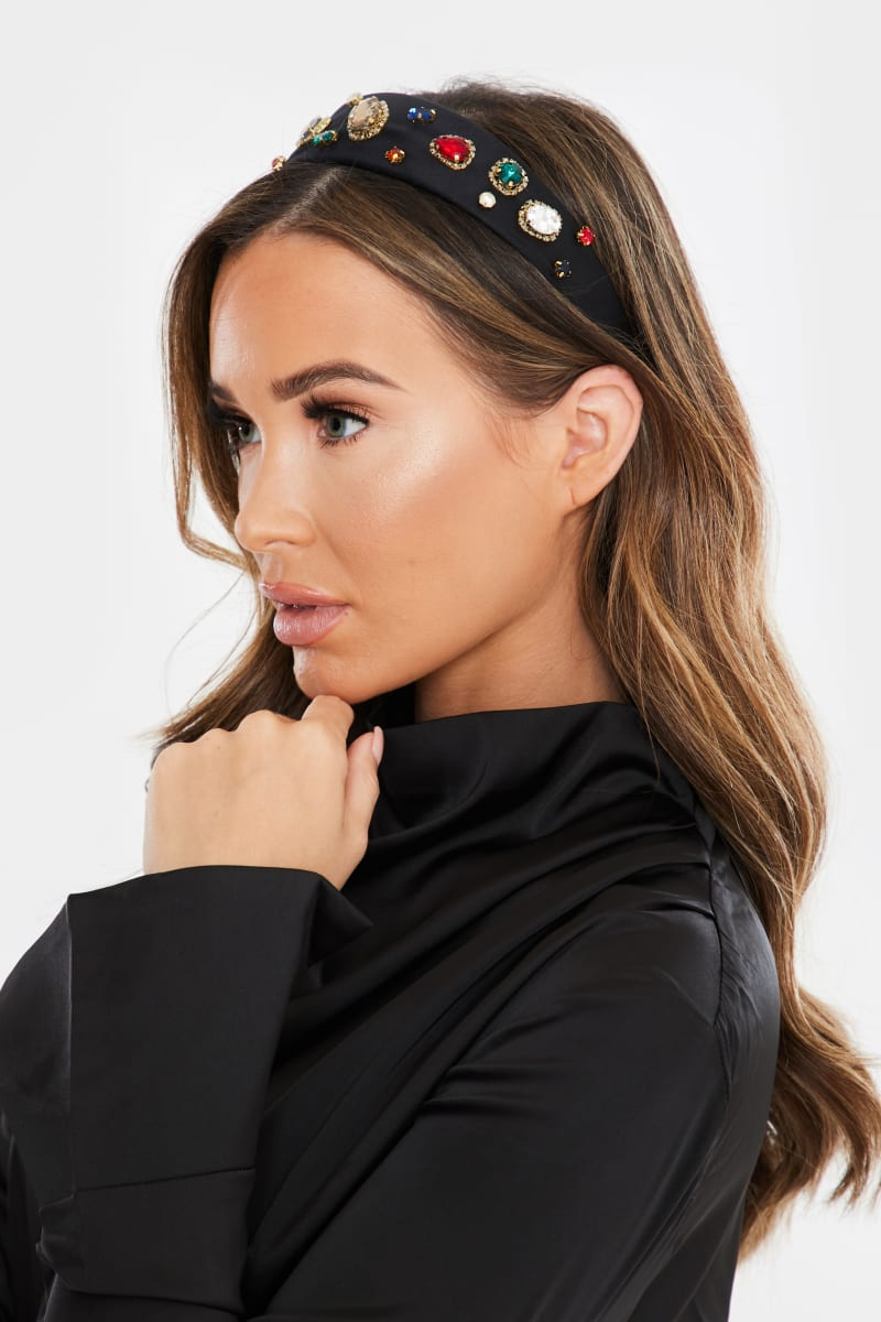 LARGE JEWELLED WIDE BLACK HEADBAND