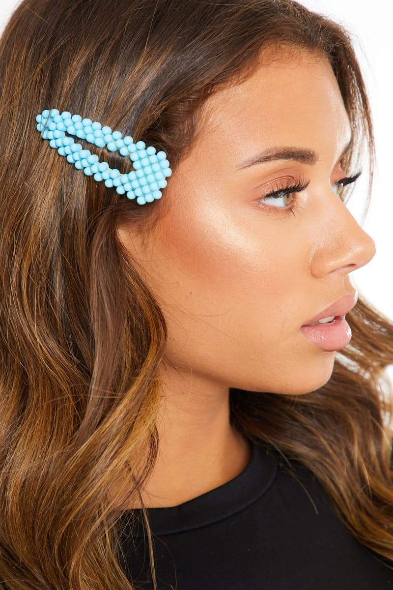 BLUE MATTE CRYSTAL HAIR CLIP