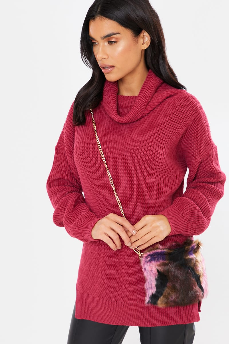 PINK FAUX FUR BAG