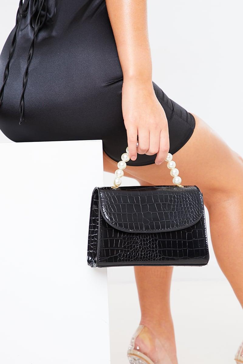BLACK FAUX CROC BAG BEADED HANDLE BAG