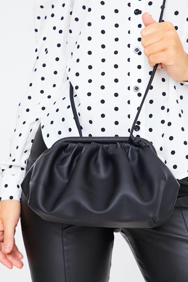 BLACK RUCHED CROSS BODY BAG