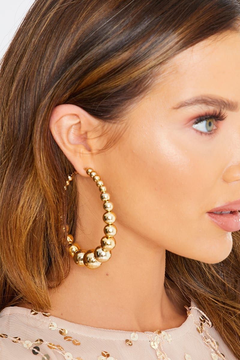 GOLD GRADUAL BEADED HOOP EARRINGS