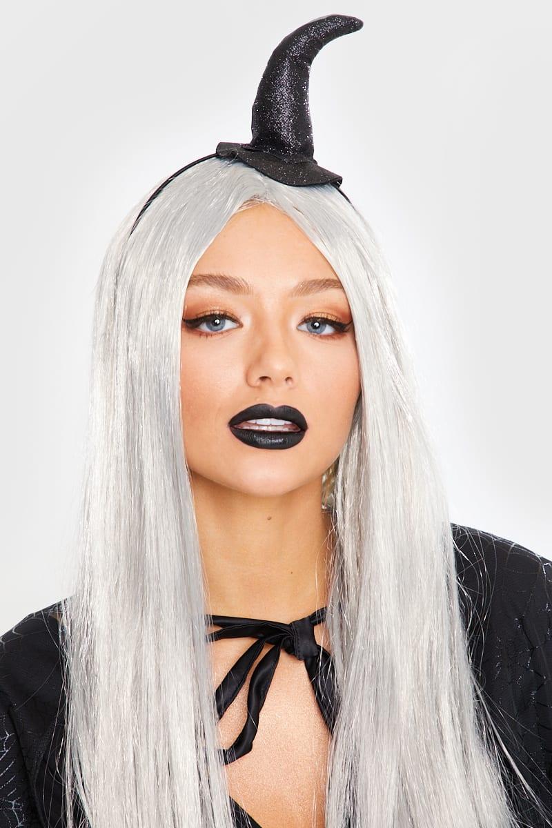 BLACK GLITTER MINI WITCHES HAT HEADBAND