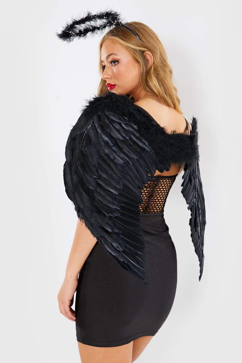 BLACK LARGE FEATHER WINGS