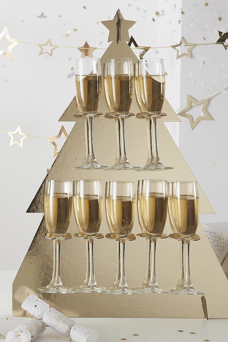 GINGER RAY GOLD CHRISTMAS TREE PROSECCO WALL