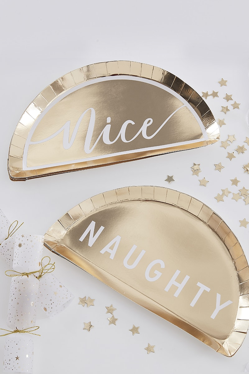 GINGER RAY GOLD NAUGHTY OR NICE PAPER PLATES