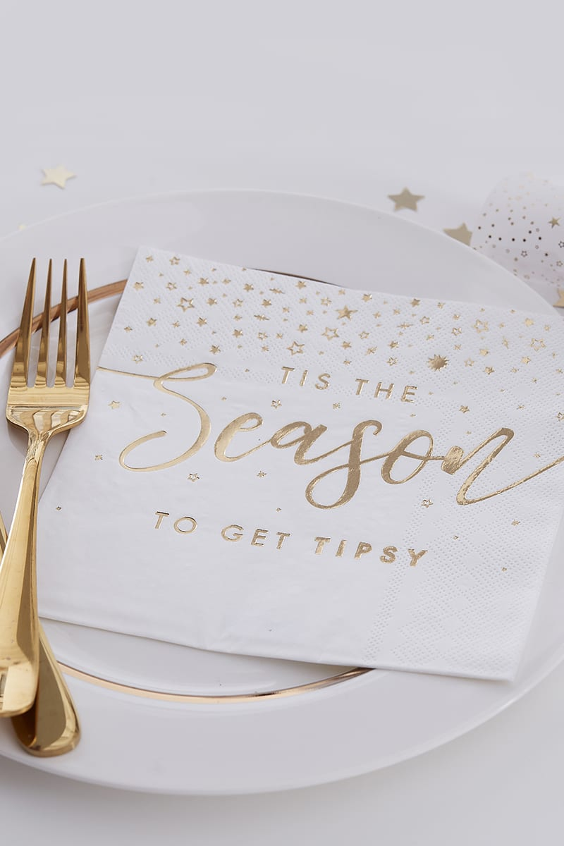 GINGER RAY GOLD FOIL TIS THE SEASON PARTY NAPKINS