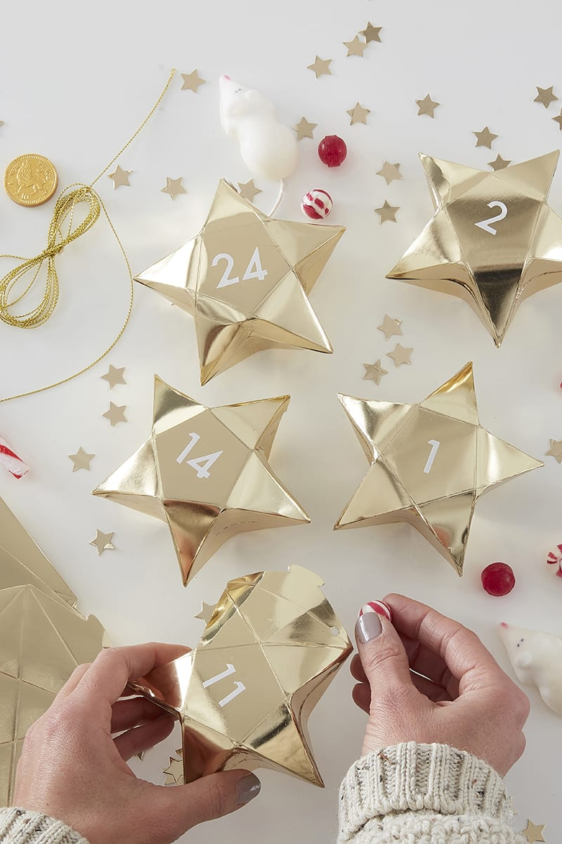 GINGER RAY GOLD STAR ADVENT CALENDAR BOXES