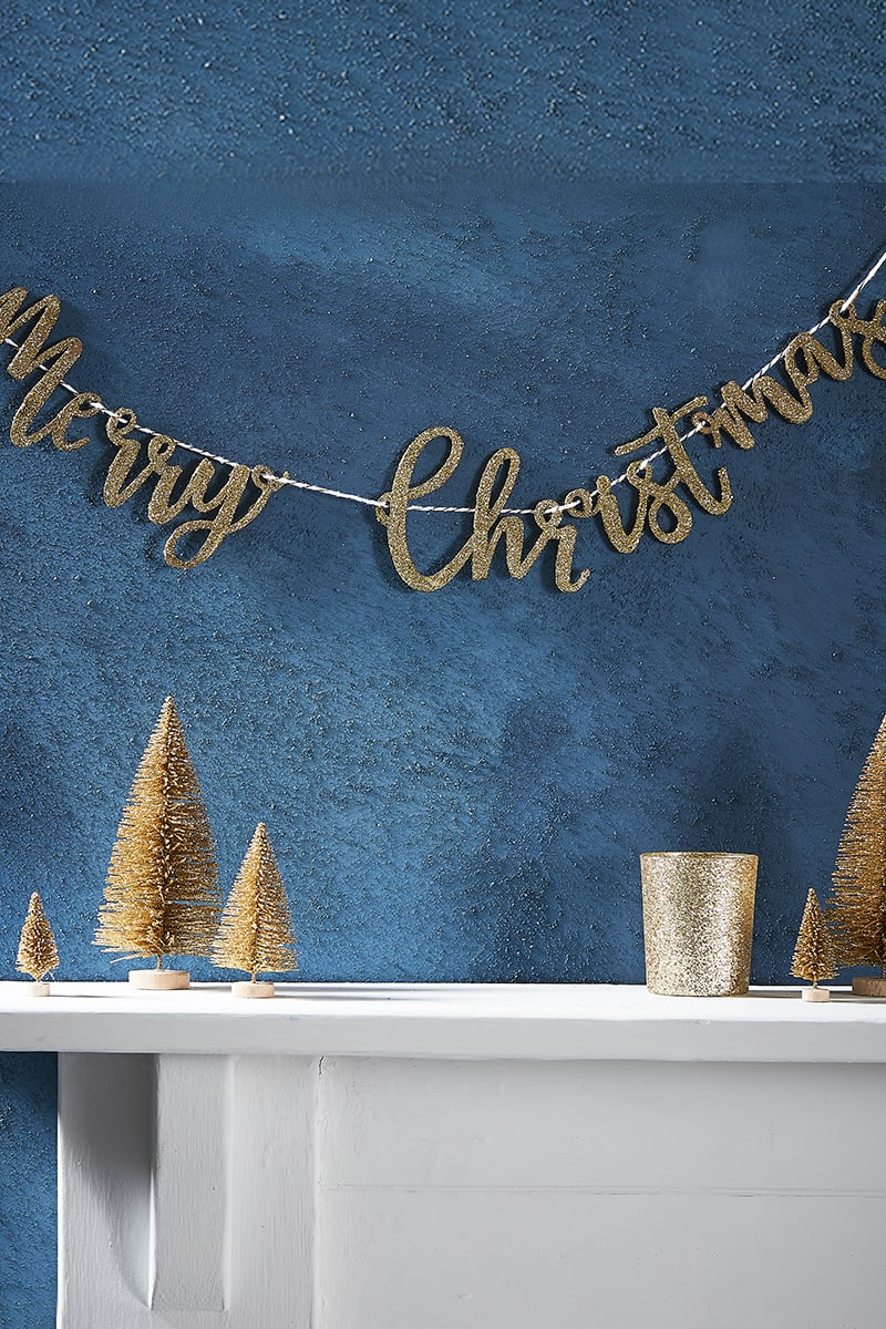 GINGER RAY MERRY CHRISTMAS GOLD GLITTER WOODEN BUNTING