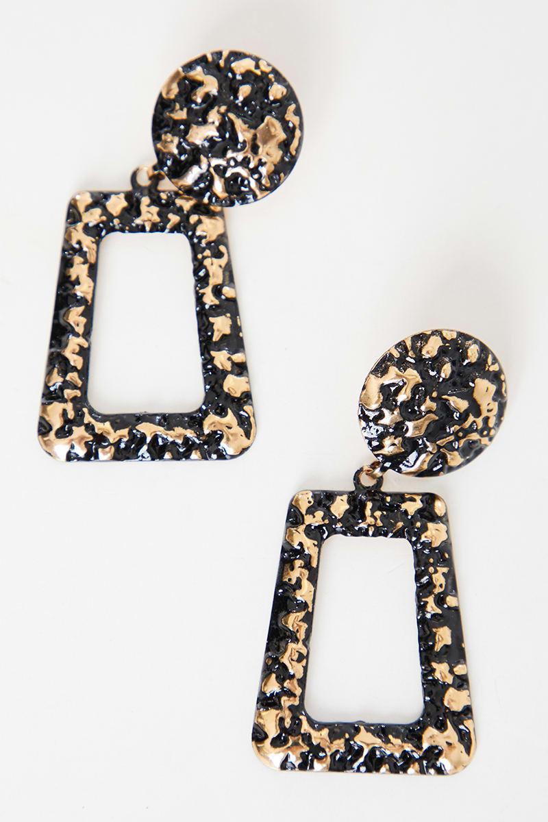 BLACK AND GOLD TEXTURED DOOR KNOCKER EARRINGS
