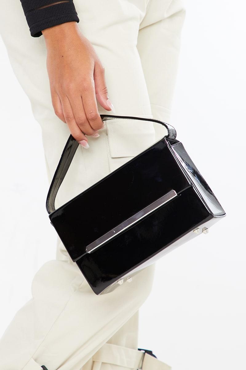 BLACK PATENT RECTANGLE BOX BAG