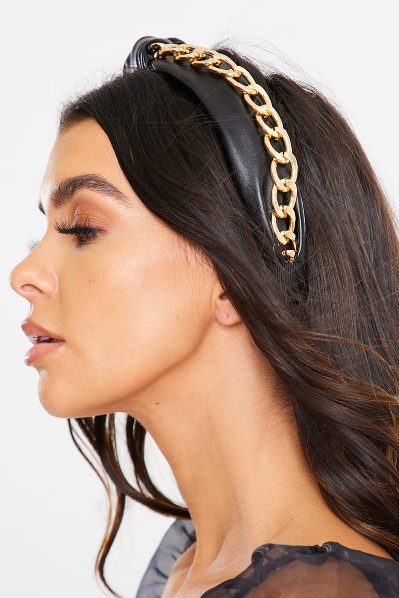 BLACK WITH GOLD CHAIN KNOTTED HEADBAND