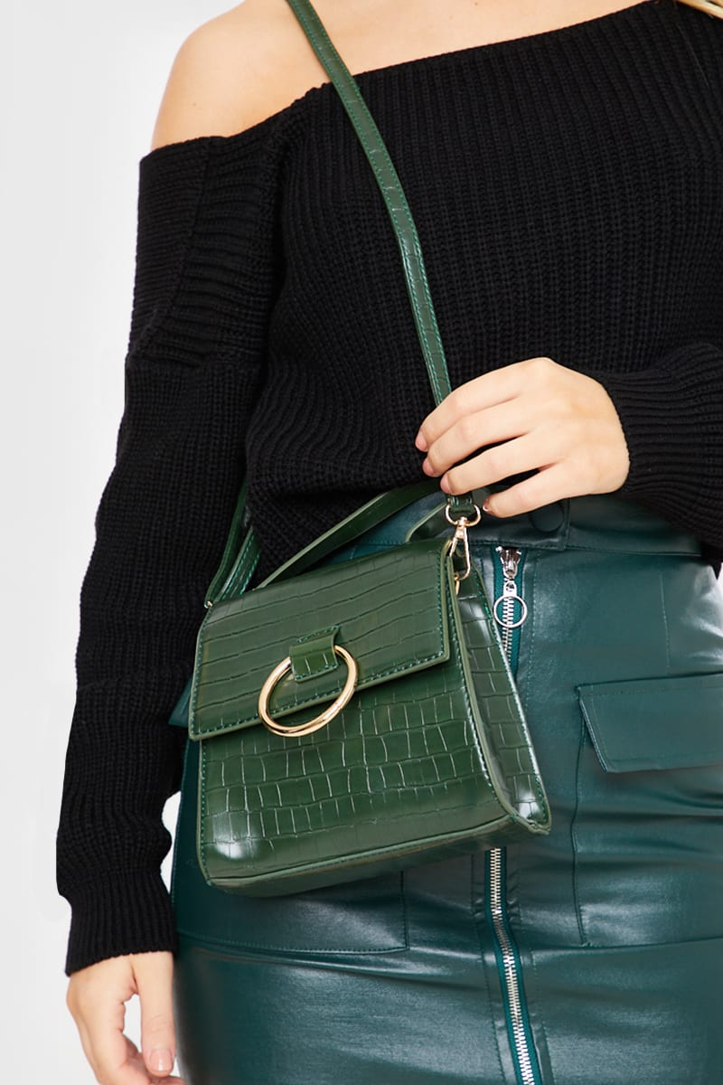 GREEN FAUX CROC D RING BAG