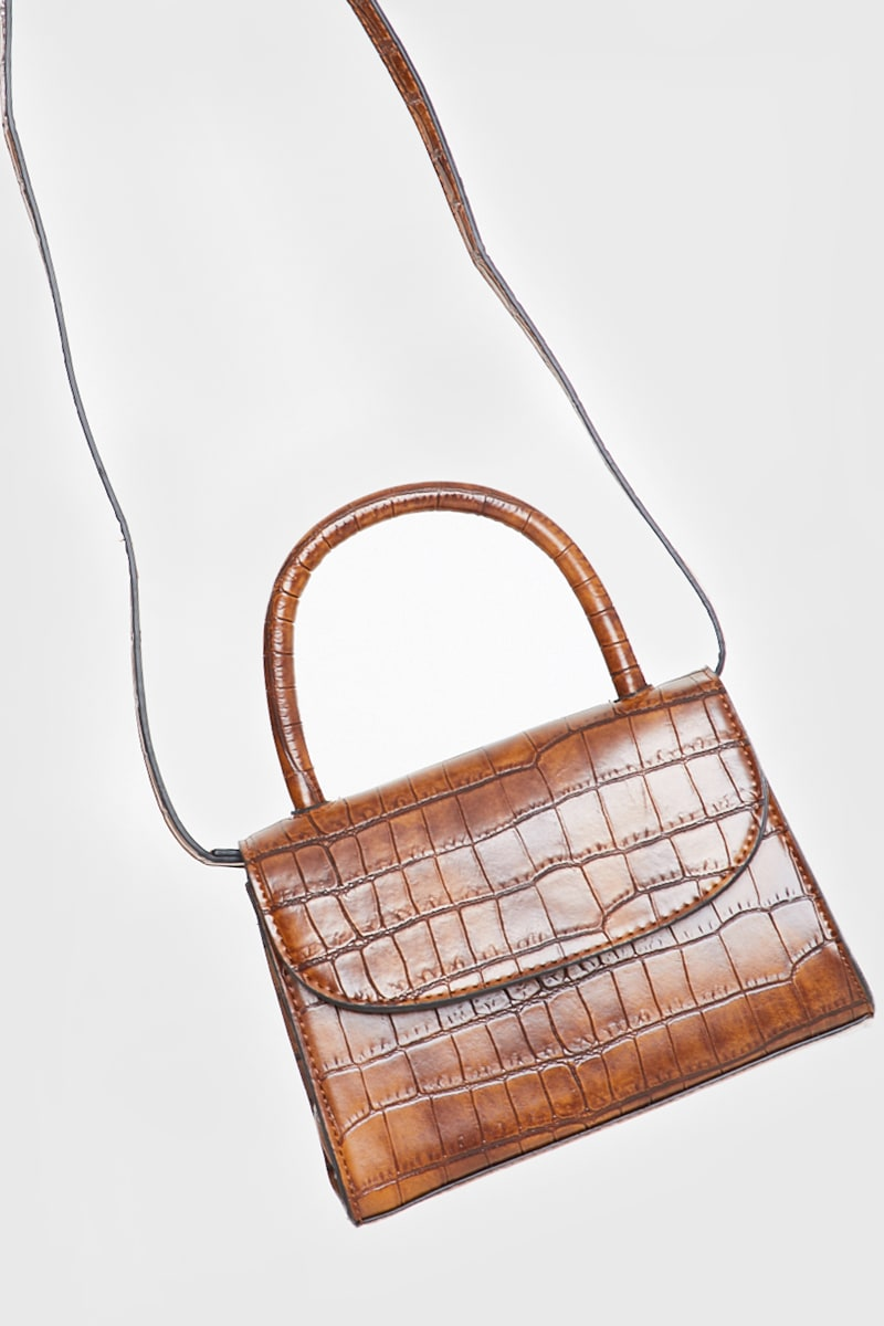BROWN FAUX CROC HANDLE BAG