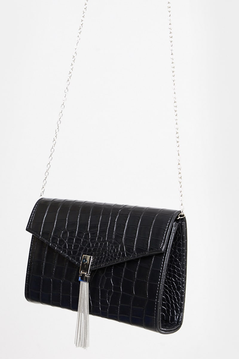 BLACK FAUX CROC TASSEL DETAIL CROSS BODY BAG