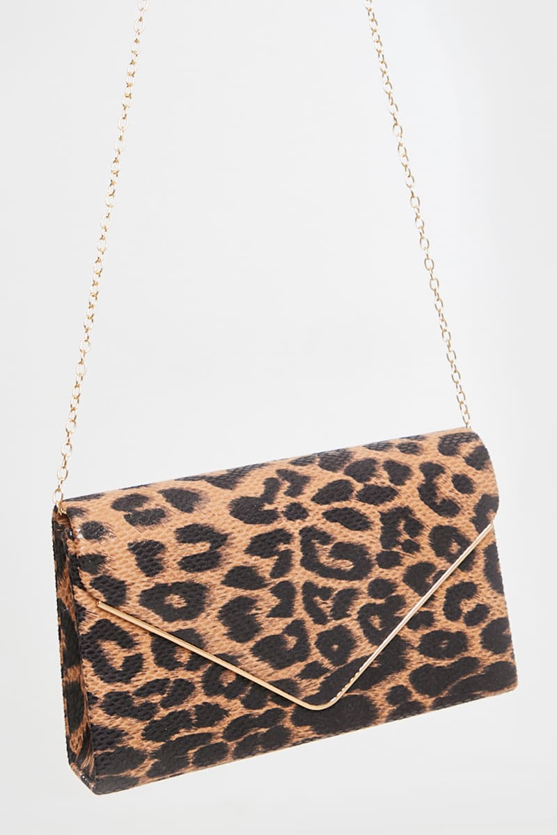 BROWN LEOPARD PRINT CLUTCH BAG WITH CHAIN